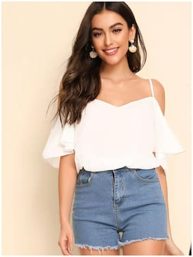 ISTYLE CAN Women Solid Regular top - White