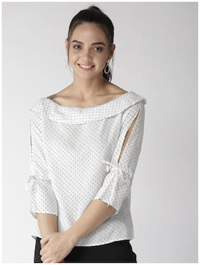 ISTYLE CAN Women Polka dots Regular top - White