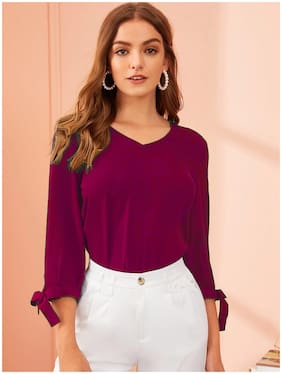 ISTYLE CAN Women Solid Regular top - Purple