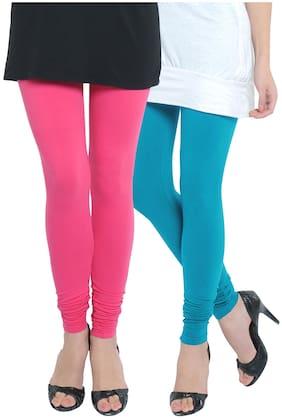 IVY Blue Cotton Spandex Skinny Fit Leggings