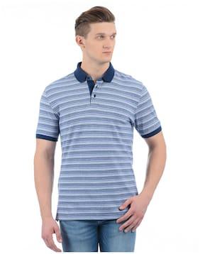 9bfbbefaa Izod Men Regular Fit Polo Neck Striped T-Shirt - Blue