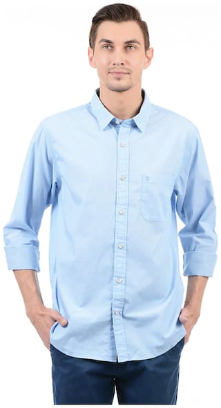 Izod Men Blue Solid Regular Fit Casual Shirt