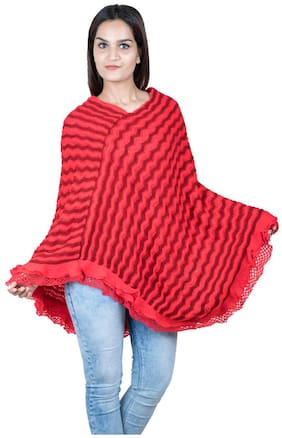JCOMAX Wool Poncho - Red