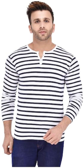 J2J Men Slim fit Henley neck Striped T-Shirt - Multi
