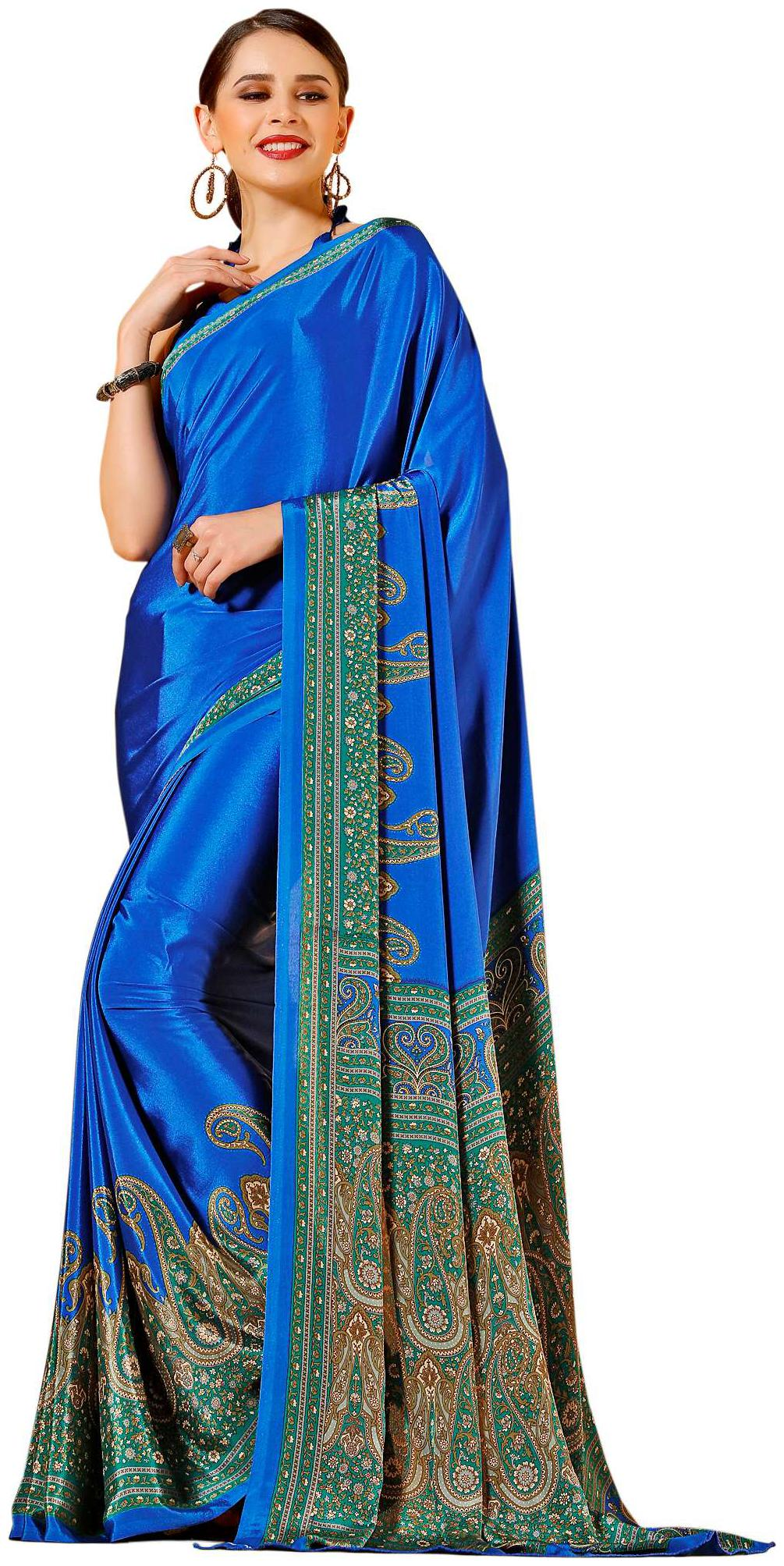 Jaanvi Fashion Women\'s Designer Elegant Crepe Silk Printed Saree by Jaanvi Fashion Sarees