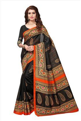 Jaanvi Fashion Women's Bhagalpuri Silk Paisley Printed Saree (ganga-black)