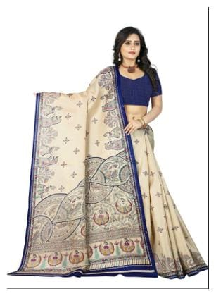 Jaanvi Fashion Designer Khadi Silk Kalamkari Figure Printed Saree