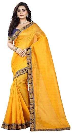 Jaanvi Fashion Silk Bhagalpuri Block print work Saree - Orange , With blouse