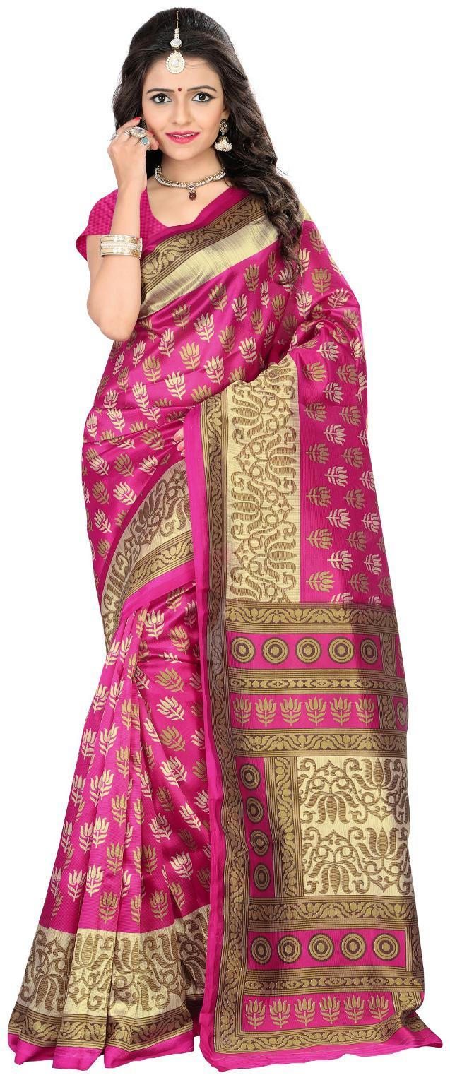 Jaanvi Fashion Designer Mysore Art Silk Pink Printed Saree