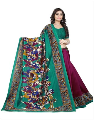 Jaanvi Fashion Silk Kalamkari Embroidered work Saree - Multi , With blouse