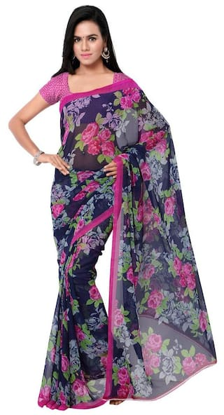8819a9a94a Buy Jaanvi Fashion Designer Blue Floral Chiffon Saree Online at Low ...