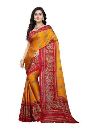 Jaanvi Fashion Women's Peackock Printed Crepe Silk Kalamkari Printed Saree (designer-saree-2018-yellow)