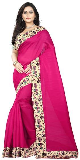 Jaanvi Fashion Silk Bhagalpuri Lace work Saree - Pink , With blouse