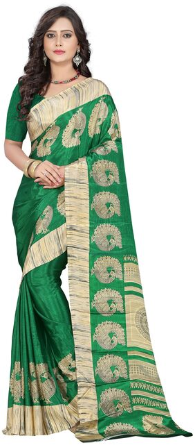 Jaanvi Fashion Designer Dark Green Crepe Printed Saree