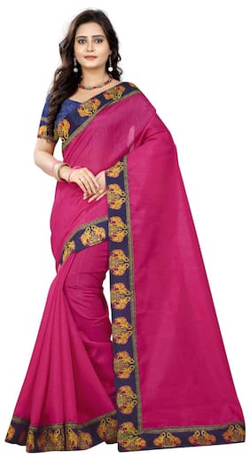 Jaanvi Fashion Silk Bhagalpuri Lace work Saree - Pink , With blouse