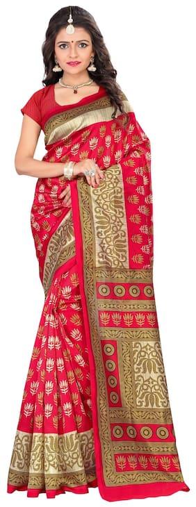 dc069dff4e9f0 Jaanvi Fashion Designer Mysore Art Silk Red Printed Saree