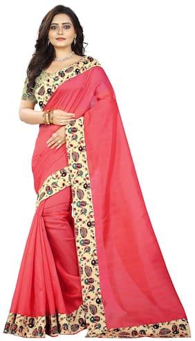 Jaanvi Fashion Silk Bhagalpuri Lace work Saree - Red , With blouse