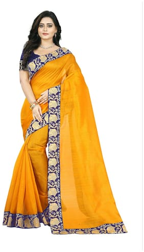 Jaanvi Fashion Silk Bhagalpuri Lace work Saree - Yellow , Without blouse