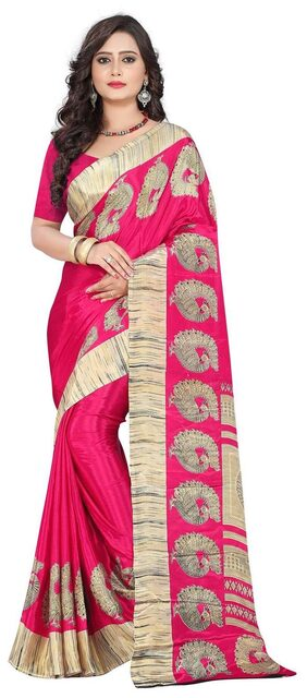 Jaanvi Fashion Crepe Universal Zari Work Saree - Pink