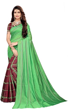 Jaanvi Fashion Cotton Universal Sarees green;Maroon