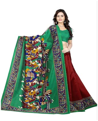 Jaanvi Fashion Designer Art Silk Kalamkari Printed Saree (Green)