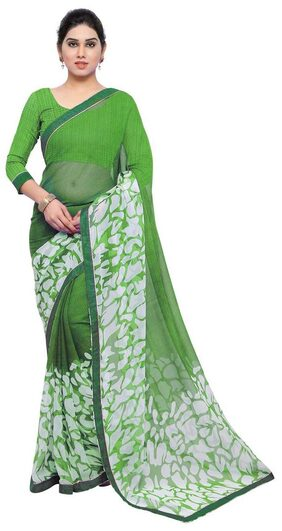 Jaanvi Fashion Designer Green Chiffon Party Wear Printed Saree With Lace & Blouse Piece