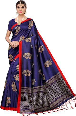 Jaanvi fashion Silk Universal Saree  (Blue)
