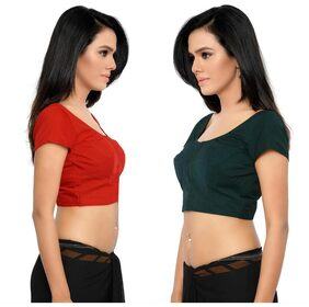 Jaanvi Fashion Combo of 2 Unstitched Rubia Blouse Piece