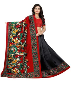 Jaanvi Fashion Designer Art Silk Kalamkari Printed Saree (Black)