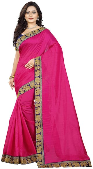 Jaanvi Fashion Pink Solid Bhagalpuri Designer Saree , With blouse
