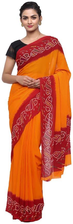 Jabama Women Synthetic Casual Wear Saree Orange