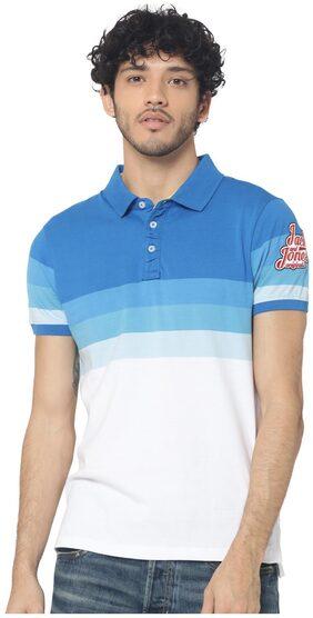 Jack & Jones Men Slim Fit Polo Neck Striped T-Shirt - Blue