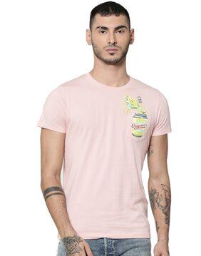 Jack & Jones Men Slim Fit Round Neck Printed T-Shirt - Pink