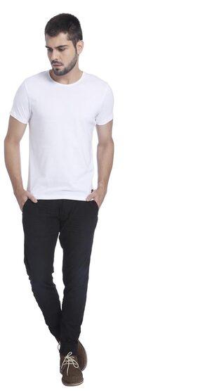 Jack & Jones Men Slim Fit Crew Neck Solid T-Shirt - White