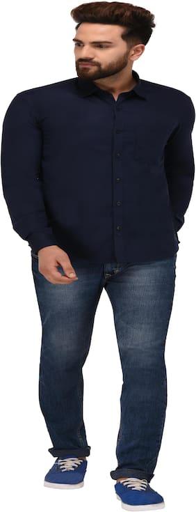 Jack Royal Men Blue Solid Slim Fit Casual Shirt