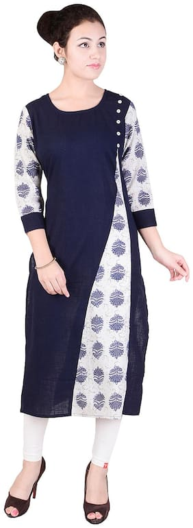 JAI KURTIES Women Cotton Printed Straight Kurti - Blue