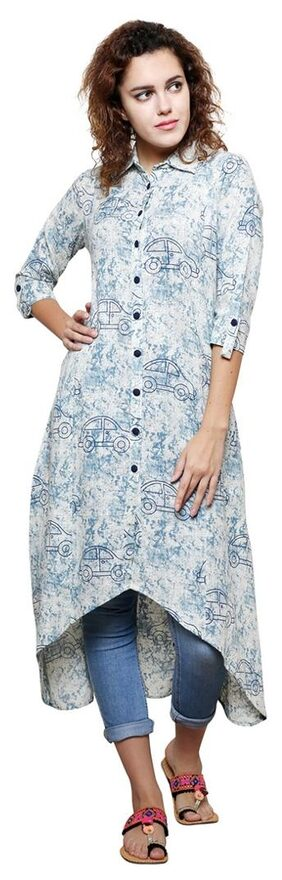 Jaipur Attire Shirt Collar Asymmetric Aline Indigo Printed Cotton Women Kurta