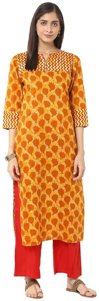 Jaipur Kurti Mustard & Red Printed Kurta With Palazzo Trousers