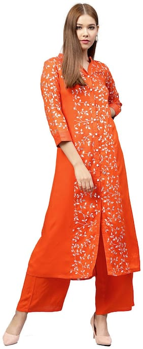 Jaipur Kurti Women Orange Solid A-Line Rayon Kurta with Palazzo