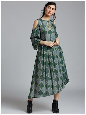 Women Printed Assymetrical Kurti Dress