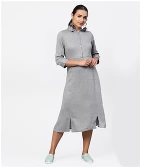 Jaipur Kurti Cotton Self Design A-line Dress Grey