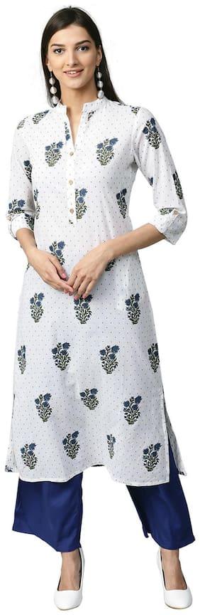 Jaipur Kurti Women White Floral Straight Kurta With Palazzo