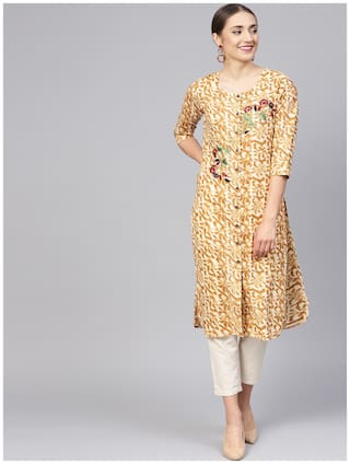 Jaipur Kurti Women Brown Abstract Straight Kurti