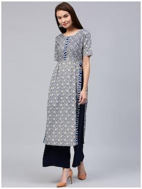 Jaipur Kurti Women's Indigo Blue Cotton Straight Fit Long Kurta With Embroidery