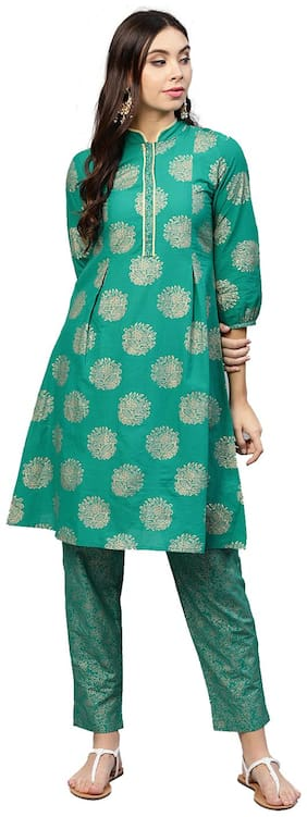 Jaipur Kurti Women Sea Green Ethnic Motifs A-Line Cotton Kurta with Palazzo