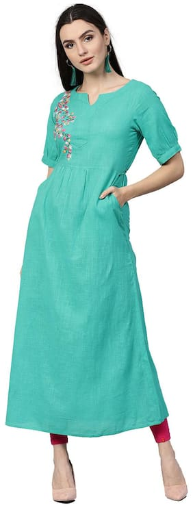 Jaipur Kurti Women Sea Green Solid A-Line Cotton Slub Kurta