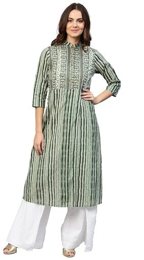 Jaipur Kurti Women Green Geometric Straight Cotton Kurta