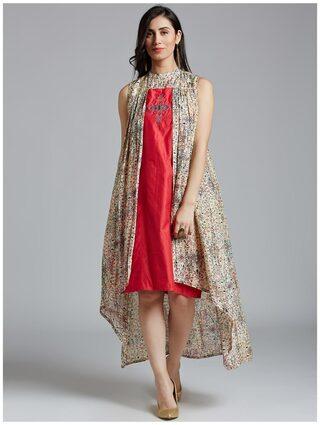 Jaipur Kurti Women Silk Printed Layered Kurti Dress - Multi
