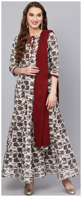 Jaipur Kurti Women Multi Floral Straight Cotton Top with Skirt and Dupatta