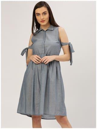 Jaipur Kurti Women Cotton Solid Straight Kurta - Blue